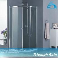 tempered glass diamond shape single sliding door bathroom shower
