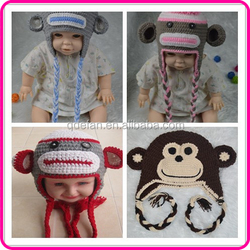 Photo prop cute monkey pattern knitted warmer caps