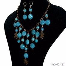 2015 Fashion Inspired Blue Beaded Earring Necklace Sets
