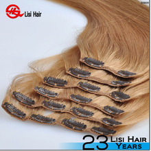 china wholesale hot sale trade assurance full head easy wear no tangle cheap 100% human hair clip in hair extension