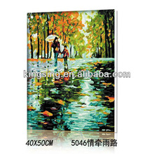 frame chinese painting Mood with rain road