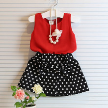 cheap price children summer chiffon tops with dot polka skirt girls boutique clothing set beautiful girls clothing suit