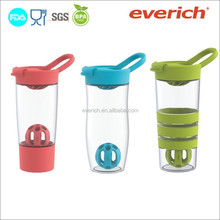 2015 Wholesale Plastic Custom Protein Shaker Bottle With Blender Ball