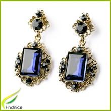 Big Crystal Stone Enamel Alloy Drop Earrings