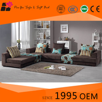 Customized Light and Dark brown European style Solid wood and cotton fabric sofa sets for living room