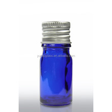 Hot Sale Wholesale Mini 5 ml Essential Oil Blue Glass Bottle with Aluminum Cap in Stock