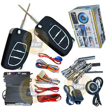 flip key car alarm system with remote start+push start function,remote open trunk,hopping code protection,keyless go