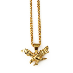 Hip Hop Fashion 18K Gold Vacuum Plating Necklace Custom Eagle Pendant Jewelry New Gold Chain Design For Men And Lady