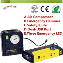 12V 16800mAh multifunction vehicle jump starter with Hammer and Knife and Inflation Pump for Car of Jump Starter