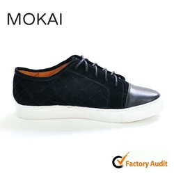 J001-MK9 BLACK popular design cow leather stitching suede lace up unisex casual shoes