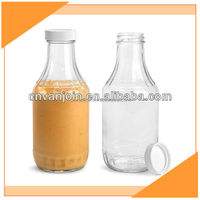 16 oz Glass Barbecue Sauce Bottles with Ribbed White Lined Caps