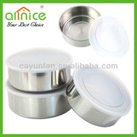 3pcs round food container/metal storage boxes/stainless steel fresh box