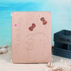 latest design Leather Case for ipad 2 3 4 for hello KT lovely case