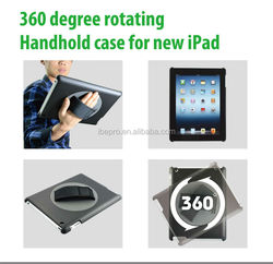 PU leather Handheld Rotating Case For iPad 2 3 4 With Adjustable Hand Strap