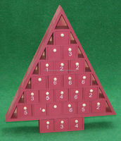 New design holiday decoration calendar christmas tree shaped wood chocolate box