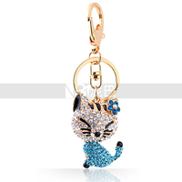 Flower and Lovely Cat Charms Pendant Accessories Fashion Crystal Animal Key Chain for Women