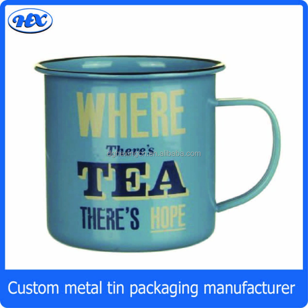 Custom tin tea and coffee drinking cups with print for Coffee cups for sale