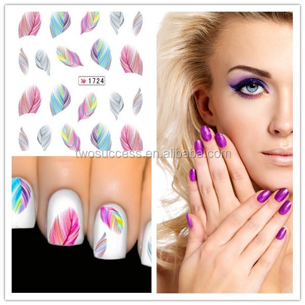 new feather nail sticker (4)