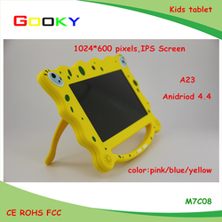 Factory price 7 inch mini tablet cute Spongy bob cheap android tablet kids tablet case with handle