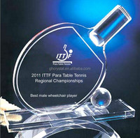 Personal rising table tennis crystal trophy