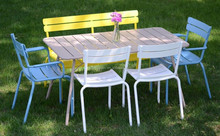6 Seaters Metal Dining Table and Chair, Dining Room Table Set