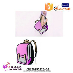 New Fashion 3D Cartoon Comic Women's Backpack/2D Knapsack /Stocked Ladies 3D Shoulder Bag