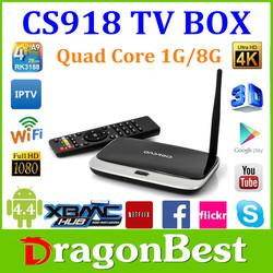 2015 Hot Sale CS918 Plus Smart Android TV Box RK3288 Quad Core XBMC Play Store 1GB RAM 8GB ROM WIFI Full HD 1080P XBMC