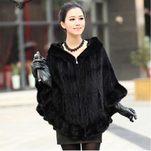 2015 New fashion high quality kintted mink fur coat