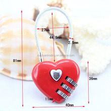 Red heart shaped combination lock with wire CR-28A
