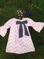 2014 new baby girls chevron dress pillow case dress peasant dress with necklace and bow