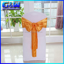 Hotel spandex chair cover Wholesale Stain Material Orange chair cover bow for Wedding chair cover decor