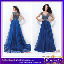 2014 New Designer Blue Beautiful Sheath V Neck Beaded Bodice Empire Long Chiffon Skirt Boob Tube Evening Dress (AB0206)