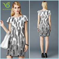 New designed fashion modern printed ladies dress model