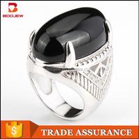 Guangzhou gemstone ring jewelry market wholesale new models black agate men silver jewelry fashion rings