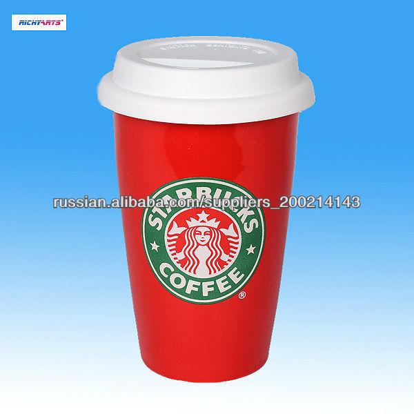 Starbucks керамическая кружка кофе с крышкой