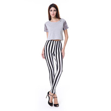 Classical Lycra Cotton Black And White Stripe Lady Slim Leggings Pant