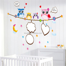 2015 Hot Sale for Wall Wall Stickers for Kids Rooms Adesivo De Parede Removable Stickers Cartoon Real Kindergarten Owl AM817