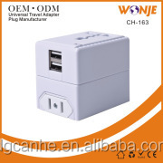 Power 2 in 1 Universal Travel Adapter with 2 Universal Outlets - Grounded - EU UK US AU Plugs- CE/RoHS/FCC Approved