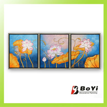 Beautiful home picture vivid pink flowers oil painting water lily oil painting for bedroom