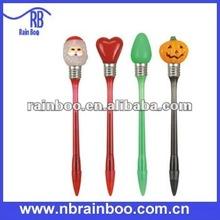 Hot selling new shape promotional plastic led knocked christmas light pen