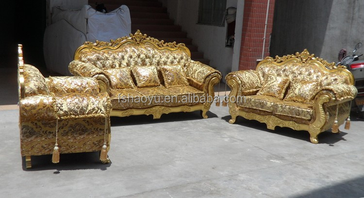 Royal living room sofa furniture golden dubai sofa design Living room furniture for sale in dubai