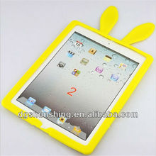 brigt yellow rabbit's ear shape silicone rubber protective case for ipad mini