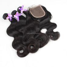 Kimberly hair Brazilian body wave human hair weaves with lace closures, tangle free wholesale virgin Brazilian human hair