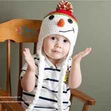 2015 Handmade Crochet Baby Beanie Hat Cute Snowman Children Winter Hats