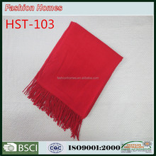 hot saler red cashmere acrylic woven throw blanket