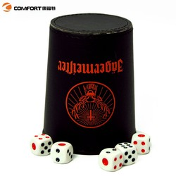 Soccer game black cacho poker dice set wholesale leather dice cup