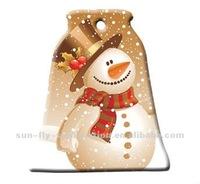 OEM New 3D Sublimation Blank Ceramic Bell Shape Christmas Ornament