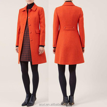 Oem clothes supplier fashion design wool blend long sleeve women trench coat