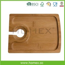 Party Serving Tray/Bamboo Wine And Appetizer Plate/Homex_FSC/BSCI