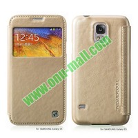 High Quality HOCO Retro Style Crystal Grain Leather Case for Samsung Galaxy S5